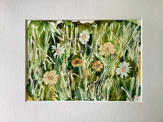 Buttercups and Daisies Meadow Ink Painting