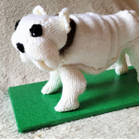 English Bulldog knitted collectible on stand