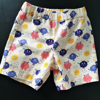 Toddler's summer shorts with cute monster print.