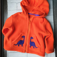 Fleece hooded jacket with dinosaur applique detail