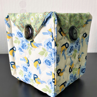 Quilted fabric storage basket
