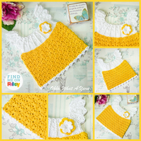 Yellow and white crochet baby dress. Crochet dress. Baby sun dress. 0-3 months