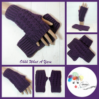 Purple cable ladies crochet gloves, finger less gloves. Texting mitts.