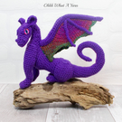 3D crochet soft sculpture collectable purple sparkly dragon.  Crochet dragon.
