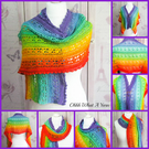 Bright rainbow lightweight 100% cotton rectangular shawl, wrap.