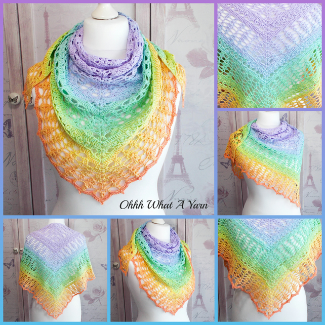 Pastel 100% cotton lace triangle shawl, shawlette, scarf.