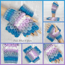 Blue, grey and lilac dragon scale gloves. Fingerless gloves. Crocodile stitch.