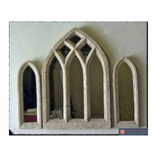 Stunning triple light window gothic mirror set