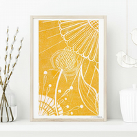 A5 Teasel and Sunflower- Linocut Giclée print. Signed & Unframed