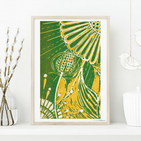 A5 Teasel and Sunflower (Green)- Linocut Giclée print. Signed & Unframed