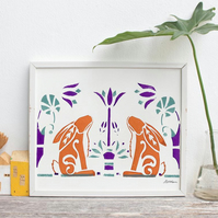 A4 Aztec Rabbits- Screenprint Giclée print. Signed & Unframed