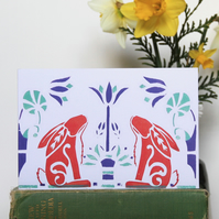 Aztec Rabbits, Screenprint card. 19x13cm, blank greetings card.