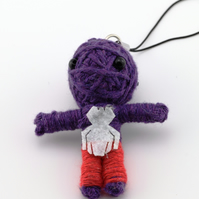 Voodoo doll keyring, keychain, voodoo rag doll, novelty doll, purple doll keyrin