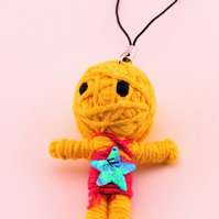 Voodoo doll keyring, keychain, voodoo rag doll, novelty doll, thread keyring