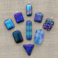 Bright Blue Sparkly Dichroic Fused Glass Pendants