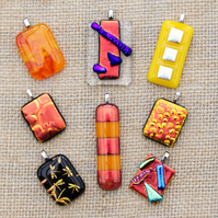 Colourful Red and Orange Sparkly Dichroic Fused Glass Pendants