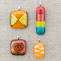 Red and Orange Sparkly Dichroic Fused Glass Pendants