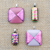 Small Pink Sparkly Dichroic Fused Glass Pendants