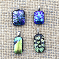 Blue and Green Sparkly Dichroic Fused Glass Pendants