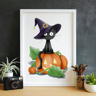 Halloween Black Cat Witch in Pumpkin Patch Art Print