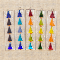 Rainbow Colourful Xmas Tree Sun Catcher Fused Glass Hanging