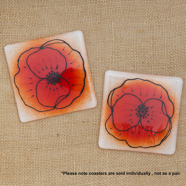 Illustrated Red Poppy Flower Fused Glass Drinks Coaster