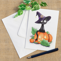 Halloween Black Cat Illustrated Birthday Greetings Card