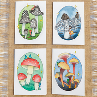 Cute Mushroom and Fairies Blank Greetings Card Fairy Card