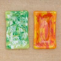Red or Green Marbled Fused Glass Trinket, Key, or Soap Dish