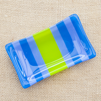 Blue, Lavender and Green Fused Glass Trinket Soap Dish