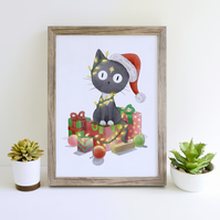 Christmas Cat Art Print Christmas Decor Artwork