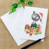 Christmas Cat Greetings Card Illustrated Grey Cat Card