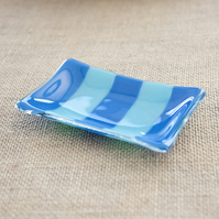 Blue Striped Small Soap Candle Trinket Dish Plate