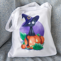 Halloween Witch Black Cat Tote Bag