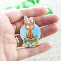 Easter Bunny Cat Wooden Pin Badge