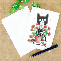 Valentine's Day Anniversary Black and White Cat Greetings Card