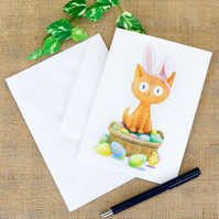 Adorable Easter Card Ginger Cat Greetings Card