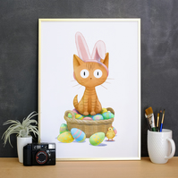 Easter Bunny Cat Print Ginger Cat Artwork