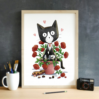 Valentine's Day Anniversary Black and White Cat Art Print