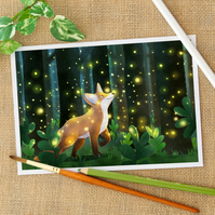The Fox and The Fireflies Fine Art Giclee Print for Children