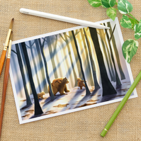Bears On A Walk Fine Art Giclee Child's Print