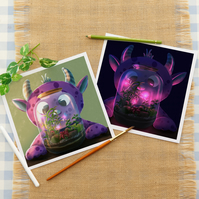 The Monster and Their Terrarium Fine Art Giclee Artwork for Children