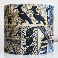 20cm round lampshade Africa African birds ethnic screen printed hand-dyed
