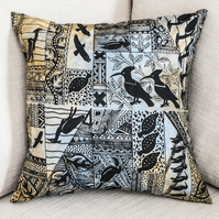 "Africa African ethnic design square 16"" 40cm 16 in cushion cover birds hand-dyed"