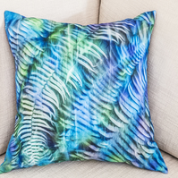 "Sun printed square 16"" 40cm 16 in cushion cover ferns hand-dyed sun print leaves"