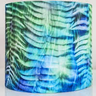 drum round lampshade Africa African sun printed hand-dyed ferns plants leaves