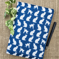 Cat Fabric A5 lined hardback notebook cover gifts for cat lovers unique design