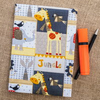 Jungle fabric A5 casebound notebook reusable cover 160 ruled lined pages school