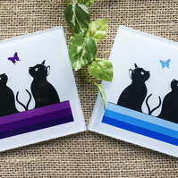 Glass cat coaster silhouettes butterfly gifts for cat lovers crazy cat lady