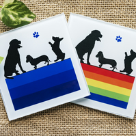 Glass dog coaster silhouettes gift for dog lover owner labrador dachshund corgi